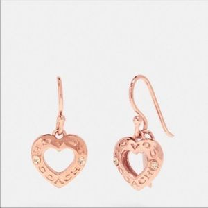 NWT Coach Rose Gold Heart Earrings